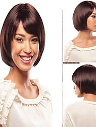 Capless Short Brown Wavy Synthetic Hair Wigs