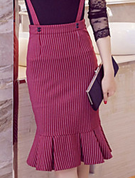 Fashion Plus Sizes Women's Slim Package Hip Stripe Fishtail Skirt Frill Strap Skirt Work OL Party