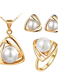 High Quality Pearl Triangle Pendant Jewelry Set Necklace Earring (Assorted Color)
