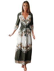 Women's Print Gray Dress , Print V Neck ¾ Sleeve