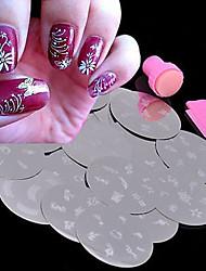 Nail Art Stamping Image Metal Plates Kit Set  A Set Of Ten Plates Random Delivery