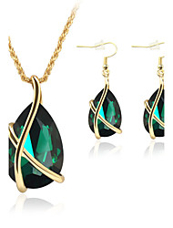 Jewelry 1 Pair of Earrings Necklaces Crystal Wedding Party Crystal Alloy 1set Women Black White Red Blue Green Wedding Gifts