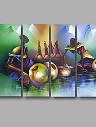 Ручная роспись АбстракцияModern 4 панели Холст Hang-роспись маслом For Украшение дома