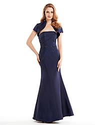 Trumpet/Mermaid Mother of the Bride Dress - Dark Navy Ankle-length Short Sleeve Taffeta