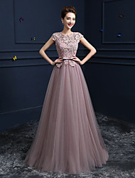 Formal Evening Dress Ball Gown Jewel Floor-length Lace / Satin / Tulle with Beading / Bow(s) / Lace