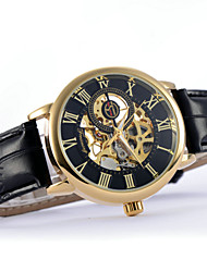Men's Business Hollow Full Automatic Round Dial Leather Band Machine Analog Wrist Watch(Assorted Color) Cool Watch Unique Watch