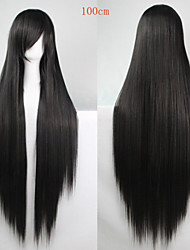 Fashion Color Cartoon Wig 100 CM Black Long Straight Hair Wigs