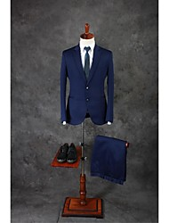 Suits Tailored Fit Peak Single Breasted Two-buttons Polyester Checkered / Gingham 2 Pieces Dark Blue