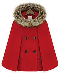 Winter Women's Solid Color Blue / Red Coats & Jackets , Sexy / Casual / Work Pan Collar Long Sleeve