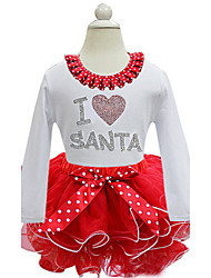 Girl's Party/Cocktail Patchwork Chirstmas DressCotton / Polyester Summer Red