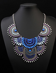 Women's Statement Necklaces Acrylic Resin Alloy Fashion Yellow Red Blue Black/White Jewelry Party Daily Casual 1pc