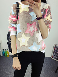 Winter Women's Color Stars Pattern Polar Fleece Long Sleeved Pullover T-Shirt Hippocampal Wool Blouse Tops