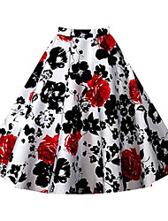 Women's Print Red / White / Black / Brown / Purple / Multi-color Skirts,Vintage Knee-length
