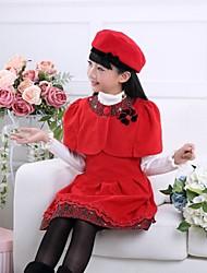Menina de Conjunto Inverno / Outono Poliéster Vermelho