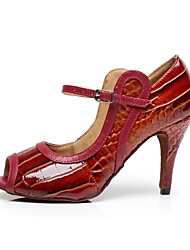 Non Customizable Women's Dance Shoes Latin Leather / Patent Leather Stiletto Heel Red
