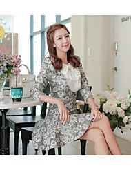Women's Solid / Jacquard White Dress , Casual / Party Asymmetrical Long Sleeve