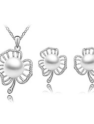 High Quality Pearl Flower Crystal Pendant Jewelry Set Necklace Earring (Assorted Color)