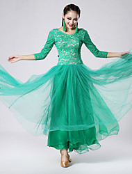 Imported Lace and Tulle Ballroom Dance Dresses for Women's Performance(More Colors)