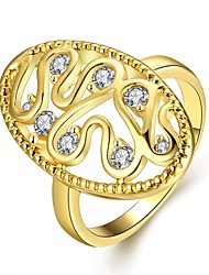 Fashion Women's Hollow White Zircon Gold-Plated Brass Statement Rings(Golden,Rose Gold,)(1Pcs)