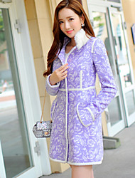 Women's Print Purple Coat , Casual / Print / Party Long Sleeve Polyester