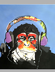 Single Modern Abstract Pure Hand Draw Decorative Oil Painting Ready To Hang Orangutans Listen To Music