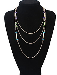 Fashion Simple Multilayer Crystal Necklace  Sweater Chain