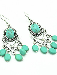 Vintage Look Antique Silver Plated Oval Turquoise Beads Stone Drop Dangle Earring(1Pair)