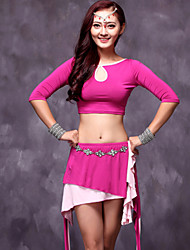 Belly Dance Outfits Women's Performance Modal Draped 2 Pieces Fuchsia / Green Belly Dance Skirt / Top