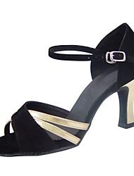 Non Customizable Women's Dance Shoes Latin/Swing/Salsa / Samba / Leatherette/ Synthetic Chunky HeelBlack / Gray / Gold /