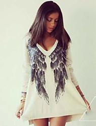 Damen Druck Einfach Lässig/Alltäglich T-shirt,V-Ausschnitt Herbst Langarm Weiß Baumwolle Undurchsichtig