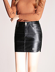 Women PU Skirt , Belt Not Included