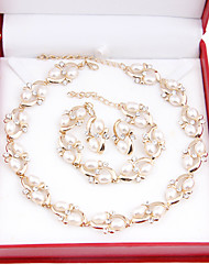 Fashion imitation pearls gilded set (necklace, earrings, bracelets)