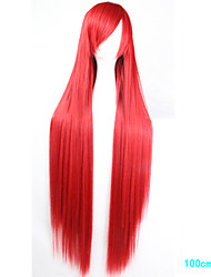 Anime Cosplay Wig Red 100 CM Long Straight Hair High Temperature Wire