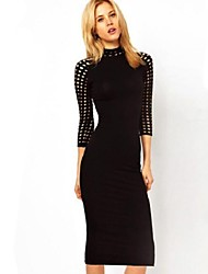 Women's Polka Dot Bodycon Casual Turtleneck Long Sleeve Hollow Out Pencil Dress