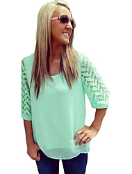 Women's Solid Green Blouse , Round Neck ½ Length Sleeve