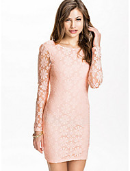 Women's Lace Pink / Green Dress , Party Round Neck Long Sleeve