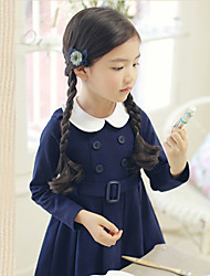 Girl's Spring / Fall Cotton fashion Long Sleeve  College Wind Double-Breasted Dress