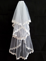 Wedding Veil Two-tiers Lace Appliqued Edge