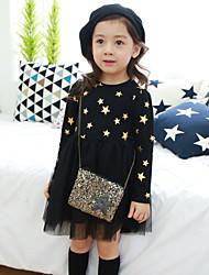 Vestido Chica de - Primavera / Otoño - Algodón - Negro / Rosa