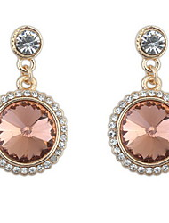 Elegant Ladies Round Gem Diamond Earrings Wedding Jewelry