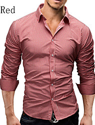 Men's Long Sleeve Shirt , Cotton Casual / Work / Formal Plaids & Checks / Pure