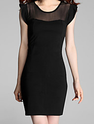 Women's Solid Black Dress , Sexy  Lace Round Neck Short Sleeve
