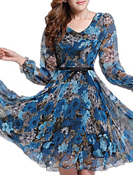 Women's Plus Size Floral Dress,Casual Print