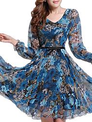 женская плюс размер цветочные платья, вскользь печати