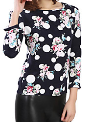 Women's Print Wave Point Leisure All Match Loose Round Neck Long Sleeve Plus Size T-shirt