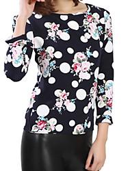 Tee-shirt Aux femmes,Imprimé Décontracté / Quotidien simple Automne Manches Longues Col Arrondi Bleu / Blanc Polyester Moyen