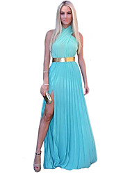 Women's Blue/Pink Halter Criss-Cross Maxi Dress, Chiffon Sleeveless