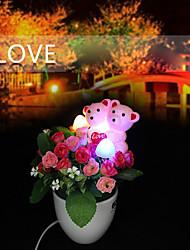 lampe électrique à induction conduit créative ours pots de fleurs petite nuit cadeaux de lumière jour les cadeaux de Saint-Valentin