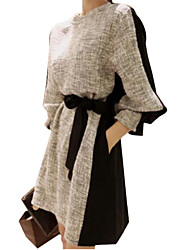 Women's Patchwork Gray/Black Dress, Casual Crew Neck Long Sleeve Shift
