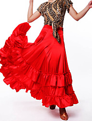 Ballroom Dance Tutus & Skirts Women's Performance Polyester Draped 1 Piece Red Modern Dance Skirt